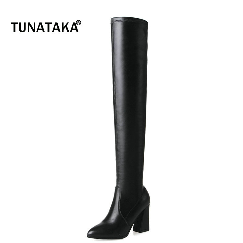 Genuine Leather Over the Knee Boots Women Thigh High Boots High Heels Sexy Party Slim Stretch