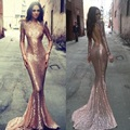 Sexy Backless Long Sleeve Mermaid Evening Dress 2017 New Hot Sparkle Luxury Rose Gold Sequin Prom Dresses Custom Made Party Gown