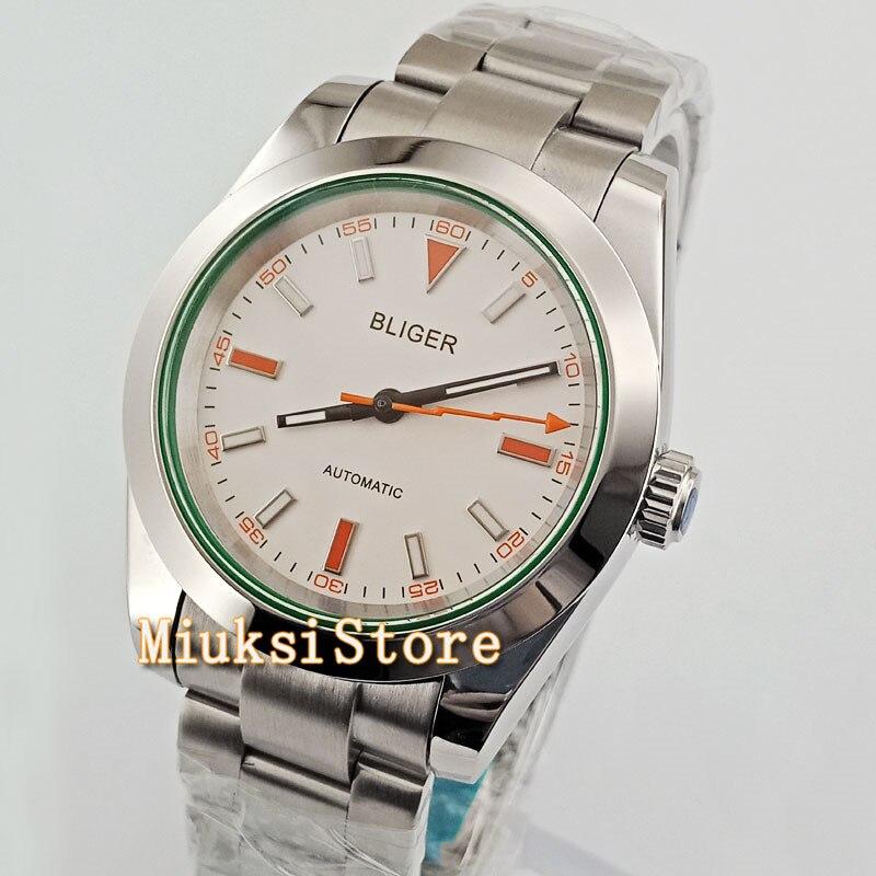 40mm White Dial Sliver pasek ze stali nierdzewnej biznes mężczyzn zegarek zegarek W2760 w Zegarki mechaniczne od Zegarki na  Grupa 3