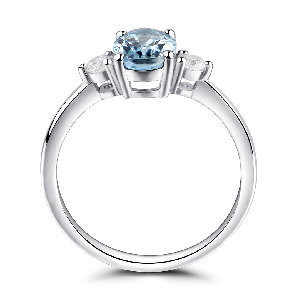 sterling march media engagement ring halo silver birthstone aquamarine rings gemstone
