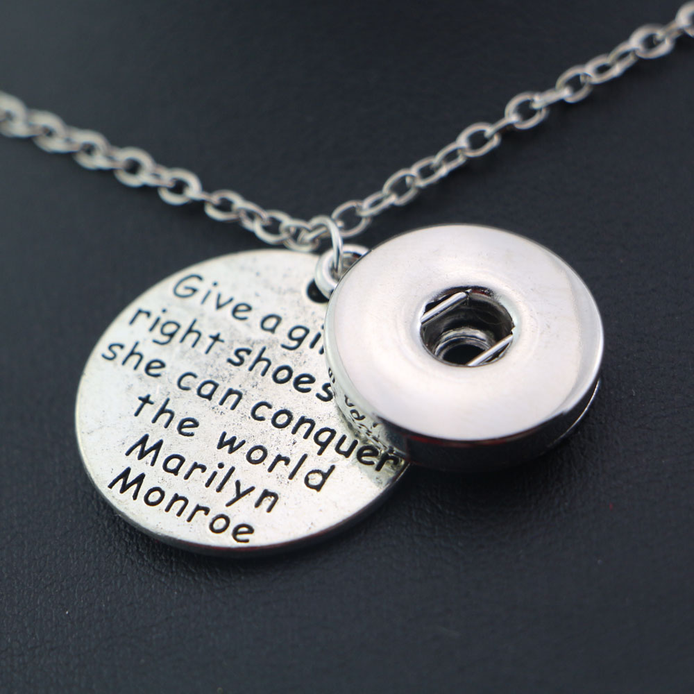 Tibetan Silver Words Charms Round Pendant Choker Link Chain Necklace With 18mm Snap Metal Button Charms For Women Girls image