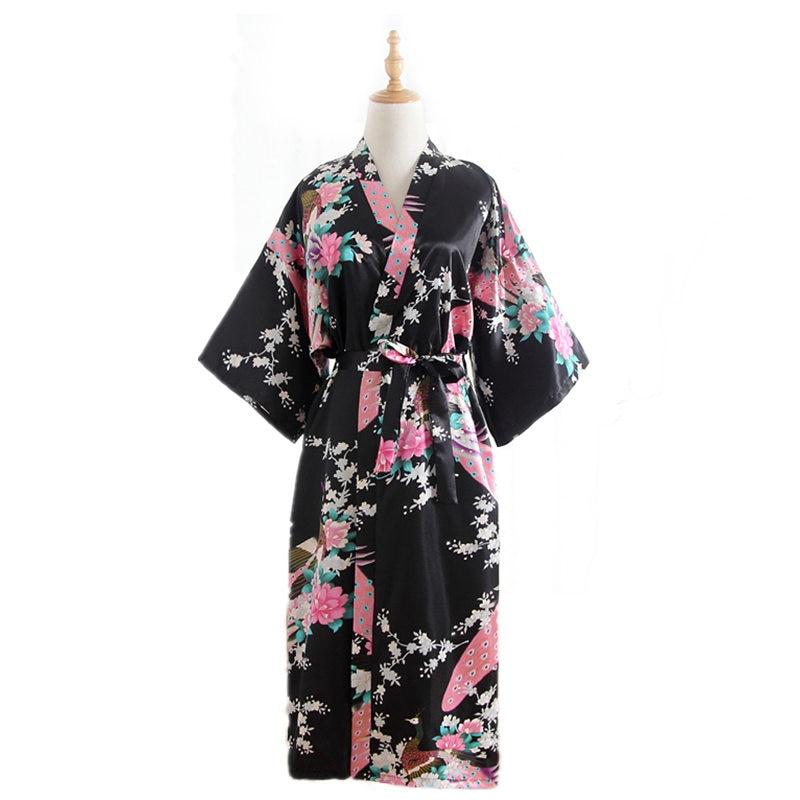 Plus Size Black Women Satin Robe Bath Gown Sexy Flower Nightgown Summer Casual Sleepwear Kimono Bathrobe Print Negligee HD10