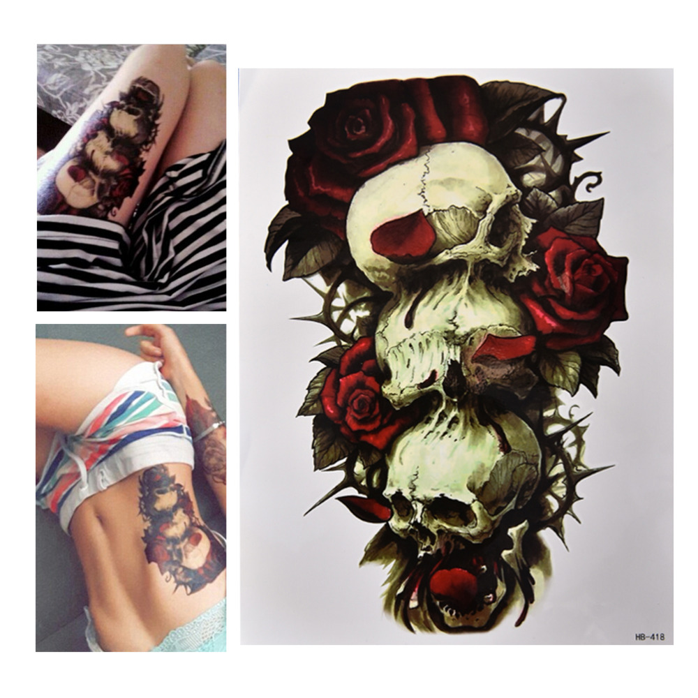 Us 10 17 Offbest Selling High Quality Waterproof Skull And Rose Temporary Tattoo Can Be Removed Large Arm Body Art Tattoos Sticker In Temporary