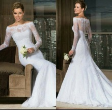 2015 New Elegant Long Sleeve Quality Made Mermaid Lace Wedding Dress