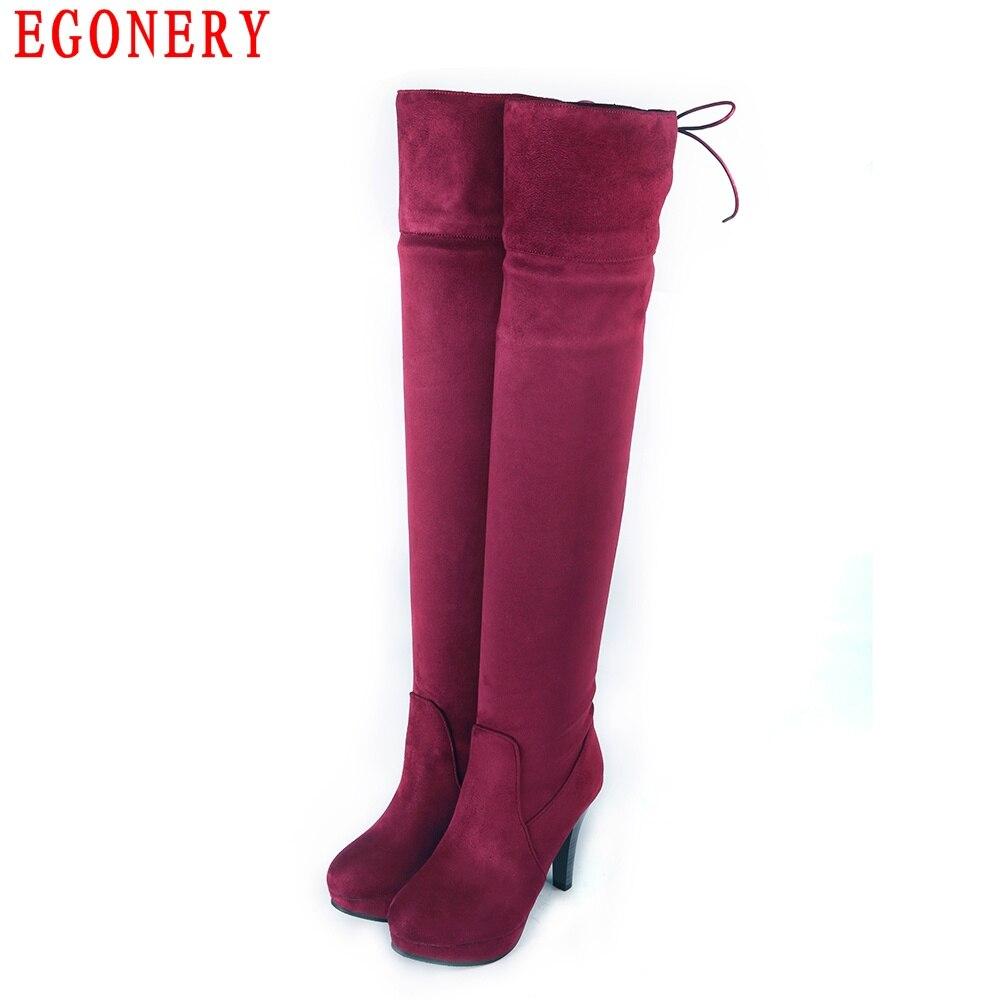 ФОТО Spring Autumn Soft Suede Nubuck Elastic Over Knee High Boots Fashion Style Platform Thin High Heels Womens Shoes