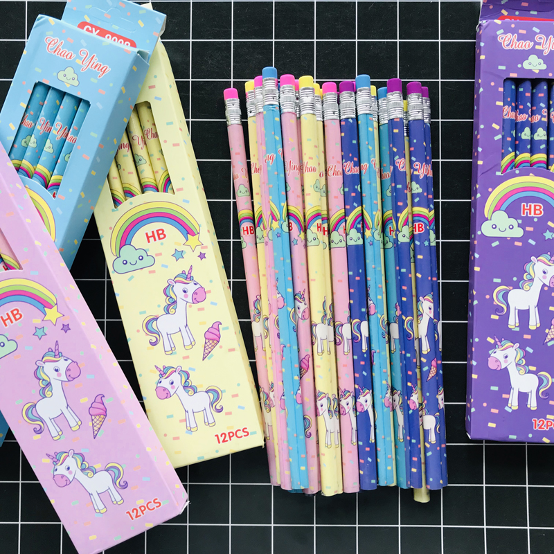 4pcs/lot Cute Rainbow Unicorn Triangle HB Standard Wooden Pencil Student Stationery Writing Drawing Pencils School Office Supply
