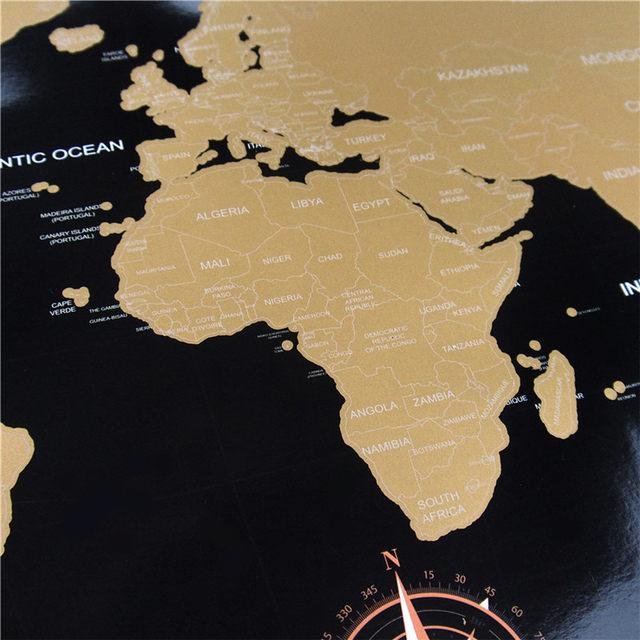 Online shop travel adventure world maps black gold easy foil layer travel world map size50x72cm gumiabroncs Gallery