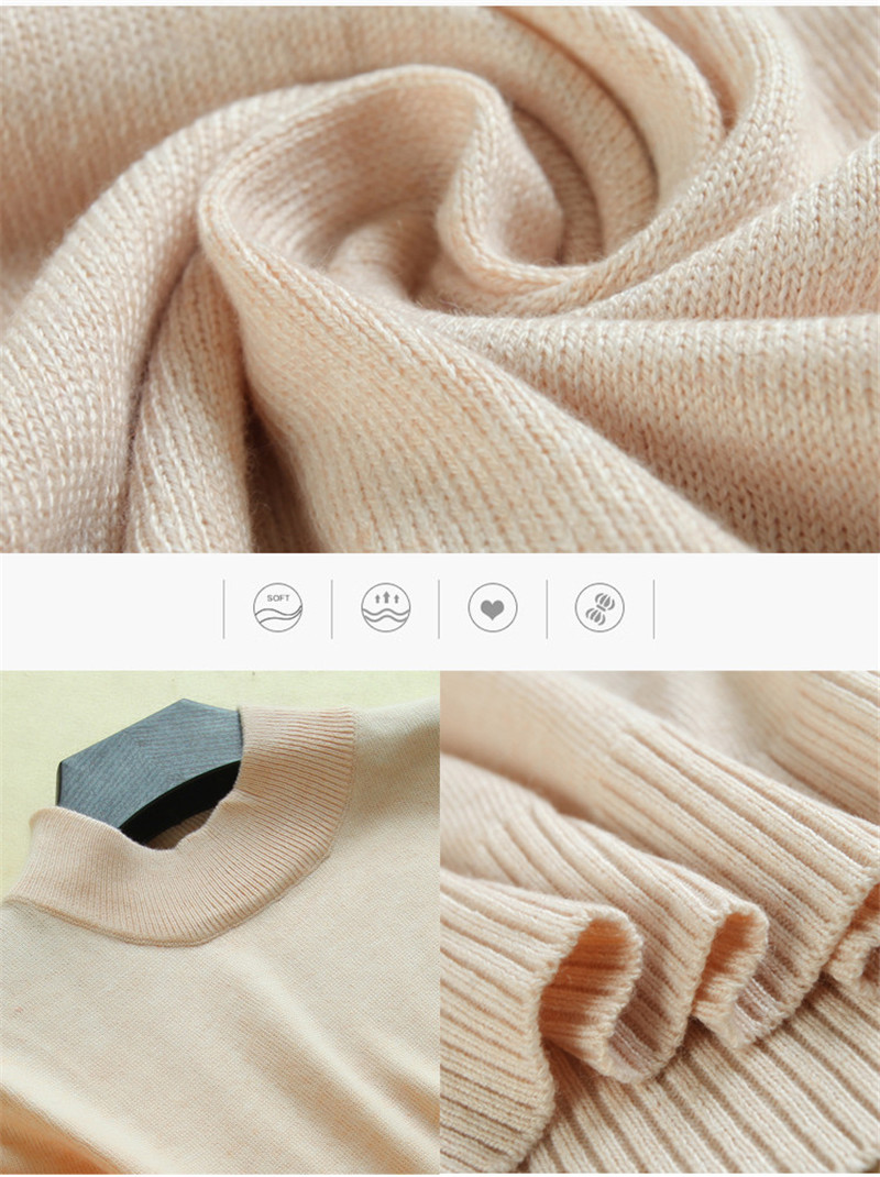 17 Women's Cashmere Turtleneck Short Sleeve Knitted Pullover Tee Base T Wool Cashmere Brand Sweater Women Jumper 10