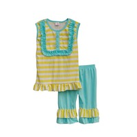 Factory Selling Girls Boutique Clothing Yellow Striped Button Decorated Vest Top Blue Ruffle Capris Summer S034