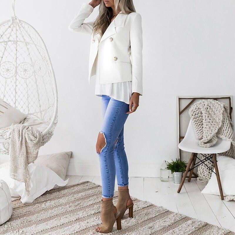 Suits & Sets Nora Twips Women Blazers 2019 Spring Patchwork Slim Long Sleeve Coat Womens Coat Winter Warm Turn Down Collar Pocket Jacket