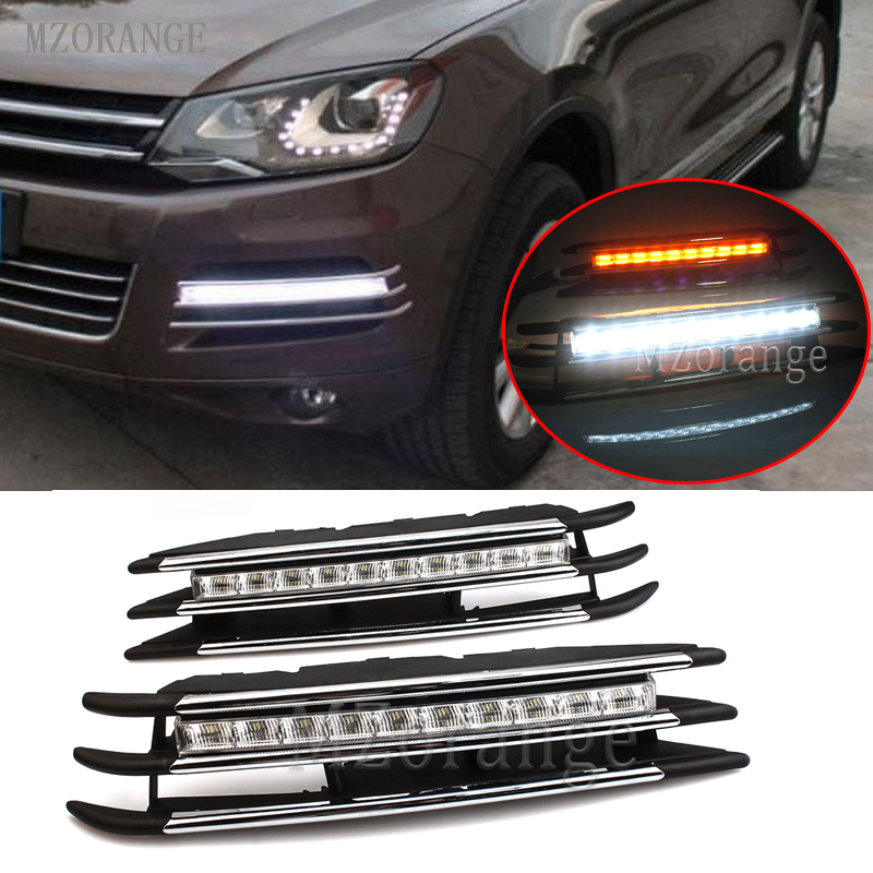 MZORANGE 2011-2014 DRL LED Daytime Running Light Super Bright Waterproof 12v for VW For Touareg with Turn Signal Dimmed Light