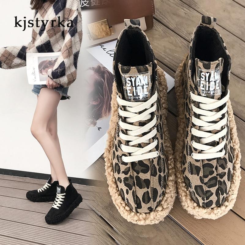 caqui 2019 Kjstyrka Pie De Rebaño Leopardo Moda Mujer Negro Clásico Calidad Zapatillas Redondo Encaje Zapatos qqO81Iw