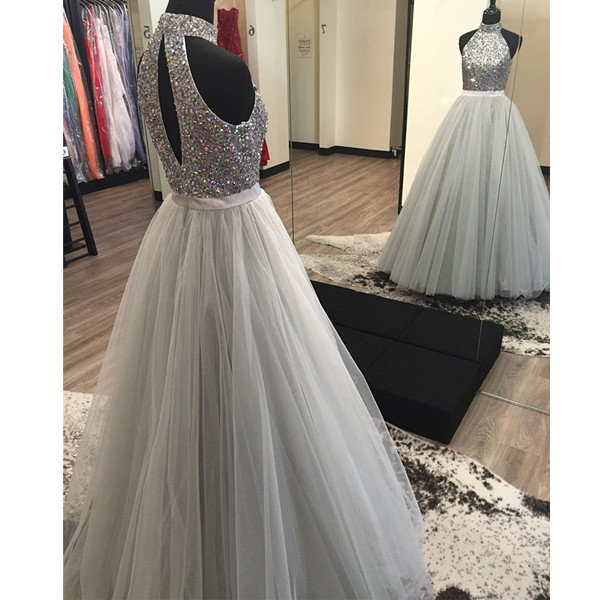 878dcb7f41d7d 2019 Silver Grey Ball Gown Prom Dresses High Neck Fully Beaded Bodice Tulle  Skirt Sexy Open Back Floor Length Prom Party Gown