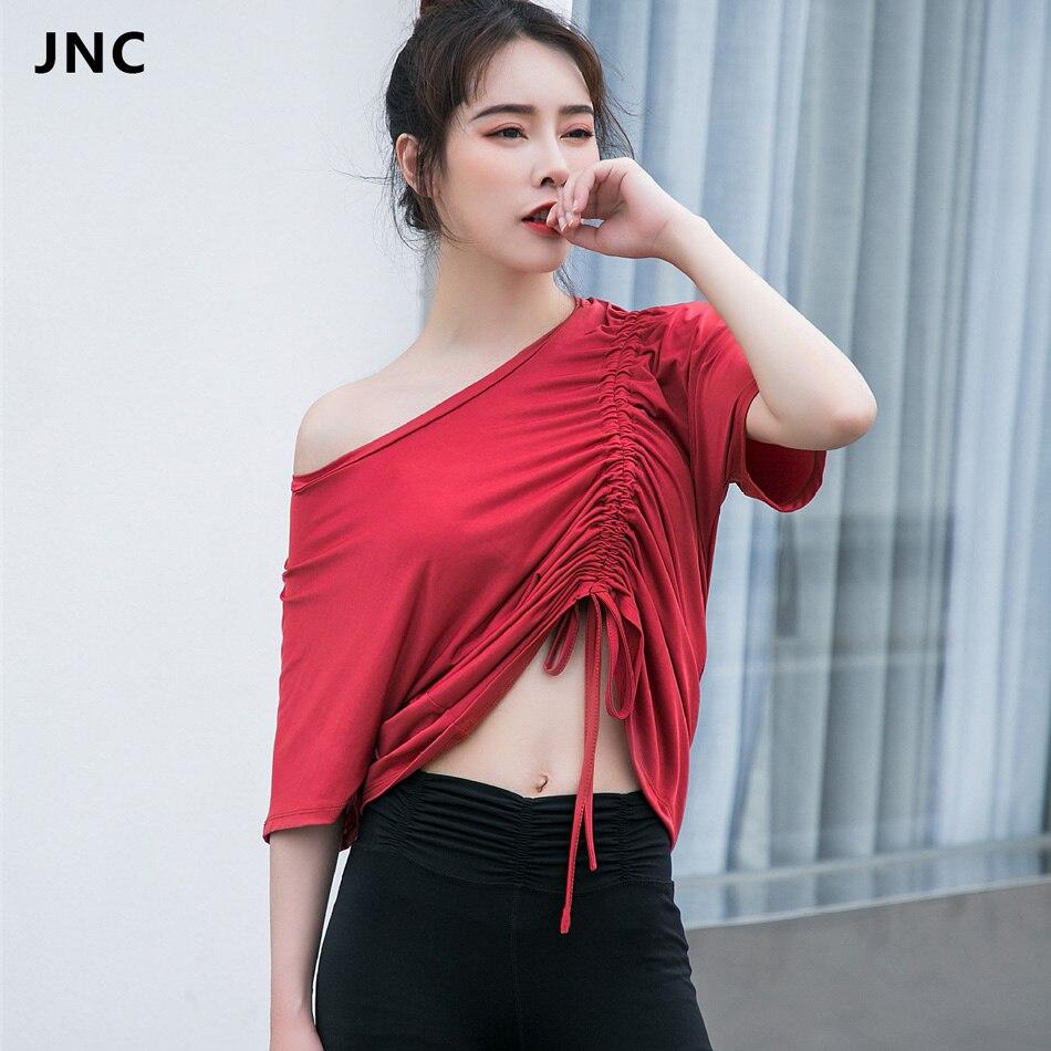 Новый Для женщин диагональ собрать Йога Топ рубашки для Camisas Mujer Спорт Рубашка с короткими рукавами тренировки Топы Drawstring Фитнес Activewear