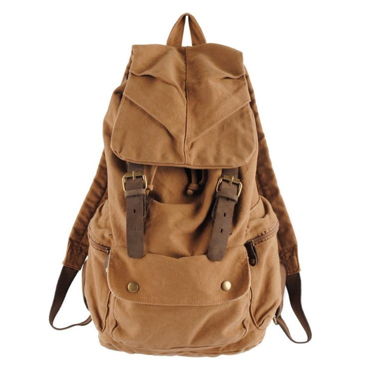 Men's Vintage Rucksack School Bag Satchel Canvas leather  Backpack Bag women Freeshipping backpack european american vintage men casual canvas leather backpack rucksack satchel bag school bag 5 color high quality 15