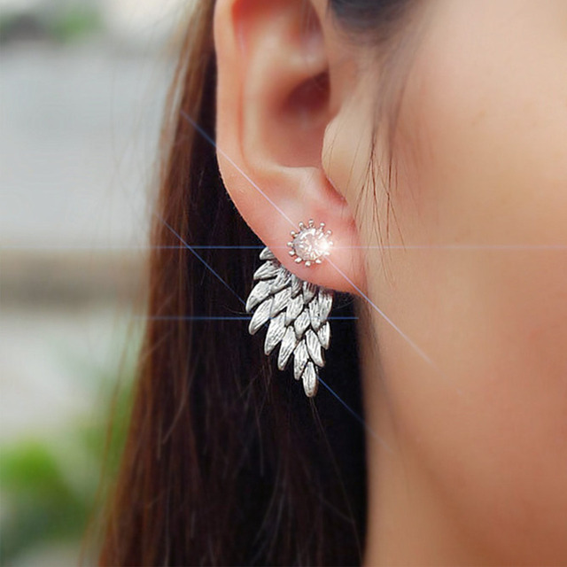 Black Gold Color Silver Angel Wings Rhinestone Ear Stud Earrings Crystal Zircon Feather Earring Women Jewelry Accessories