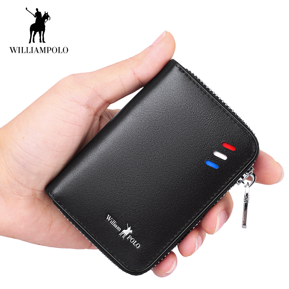 WilliamPOLO Men Wallet Short Credit Card Holder Genuine Leather Accordion Small Multi Card Case Organizer with Zipper Pocket New