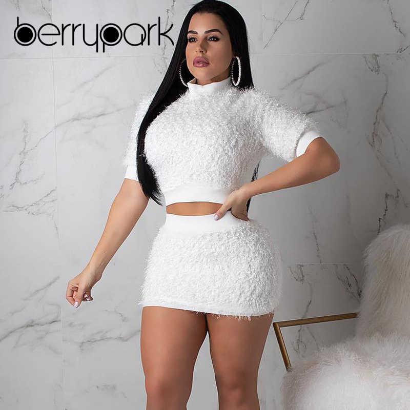 06d8960f637 BerryPark White Faux Fur Feather Womens 2 Piece Sets 2019 Winter Warm  Velvet Crop Top and