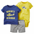 Newborn 2017 Summer Clothing Sets Baby Boys Cotton 3Pcs Set Romper+Shorts+T-Shirt Toddler Kids Fashion Clothes 2017 New 10E