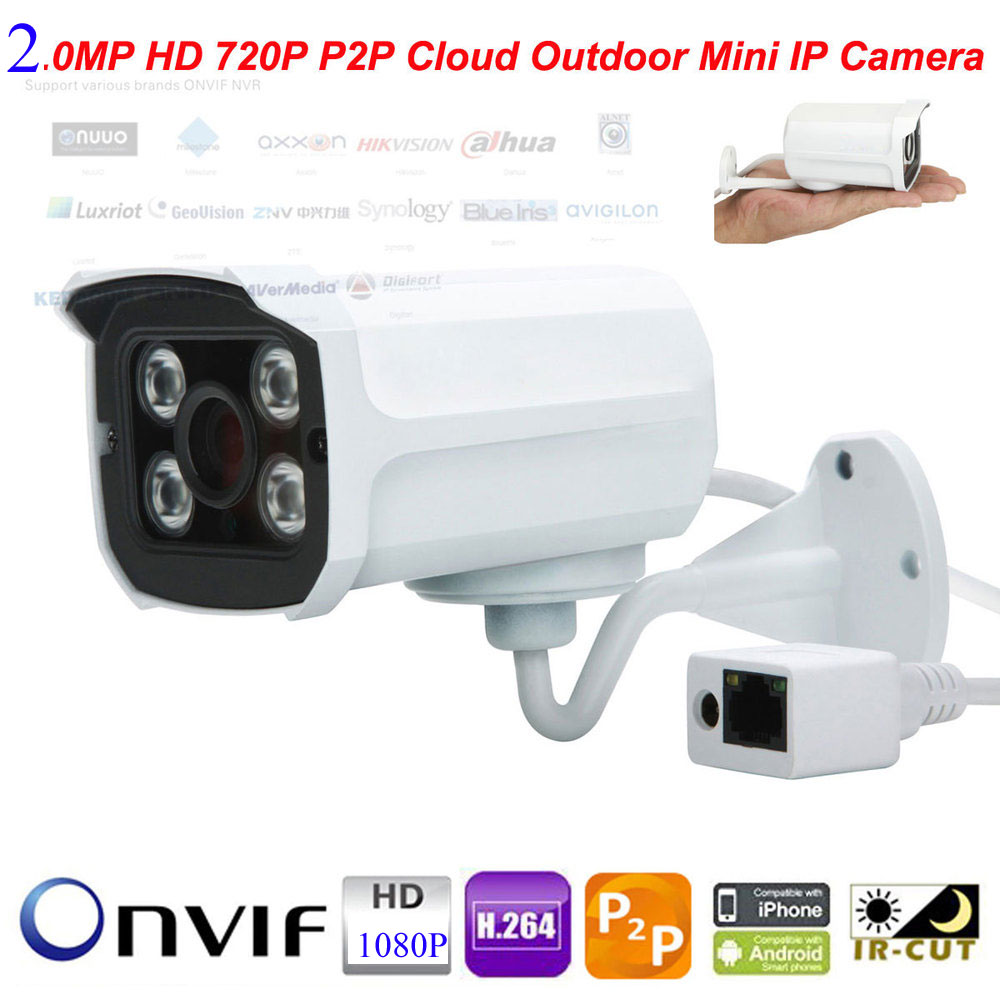 bilder für Mini H.264 HD 2.0MP 1080 P Ip-kamera Bullet Wasserdichte Outdoor Weitwinkel 3,6mm Objektiv ONVIF P2P Netzwerk Sıcherheıtstransformator CCTV Kamera DC12V
