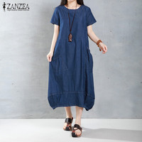 ZANZEA Brand Women Dress 2016 Summer Casual Loose Long Dresses Fashion Solid Short Sleeve O Neck