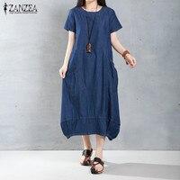 ZANZEA Brand Women Dress 2016 Summer Casual Loose Long Dresses Fashion Solid Short Sleeve O Neck
