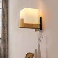 Simple bedroom bedside wall lamp ladder aisle wood art glass wall lamp wood color personality tea room building lw529422py
