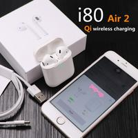 1:1 Air 2 New i80 TWS Wireless Headphones Bluetooth Headset Wireless Chip Pop Up Earphone for iPhone TWS PK i20 i30 Print code