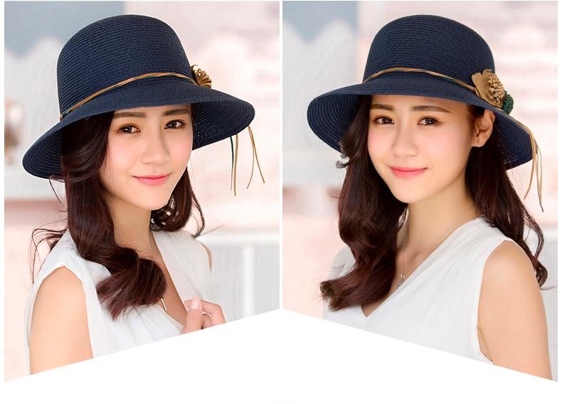HTB1BEBjovDH8KJjy1Xcq6ApdXXay - 2018 Summer New Solid Floppy Straw Hats For Women Flower Accessories ladies Summer Beach Sun Caps Panama Style Hat