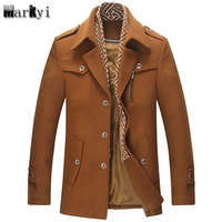MarKyi fashion 2017 brand winter men wool pea coat good quality turn down collar mens long overcoat plus size 3xl