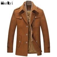 MarKyi Fashion 2017 Brand Winter Men Wool Pea Coat Good Quality Turn Down Collar Mens Long