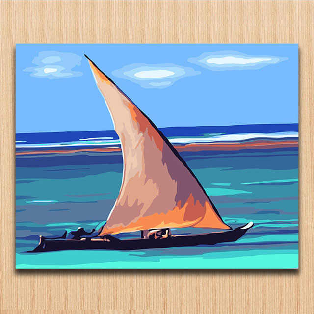Yacht boat Blue ocean pictures painting by numbers with colors modren simple canvas  s for children