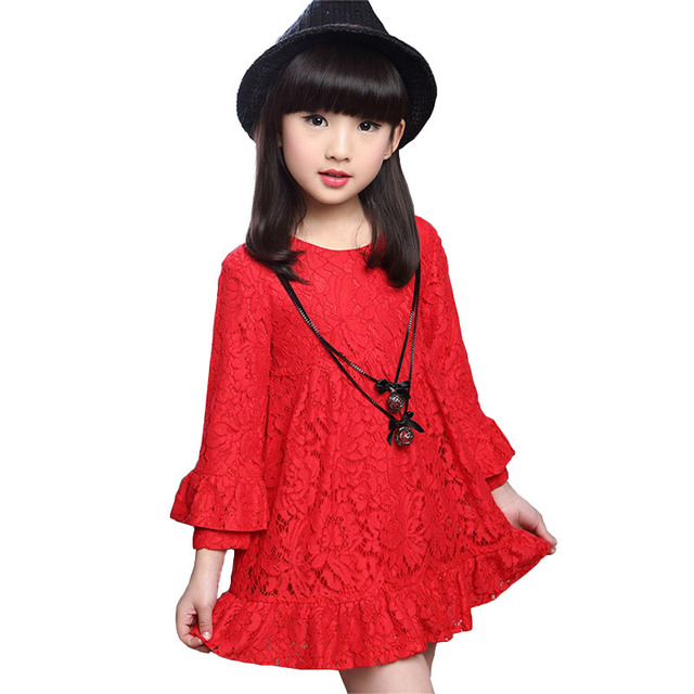 3446e5ca0f46f Aliexpress.com : Buy Girls Dresses 2018 Spring Autumn Lace Dress For Girls  Long Sleeve Children Party Princess Dress Kids Clothes 4 6 8 10 12 Years ...