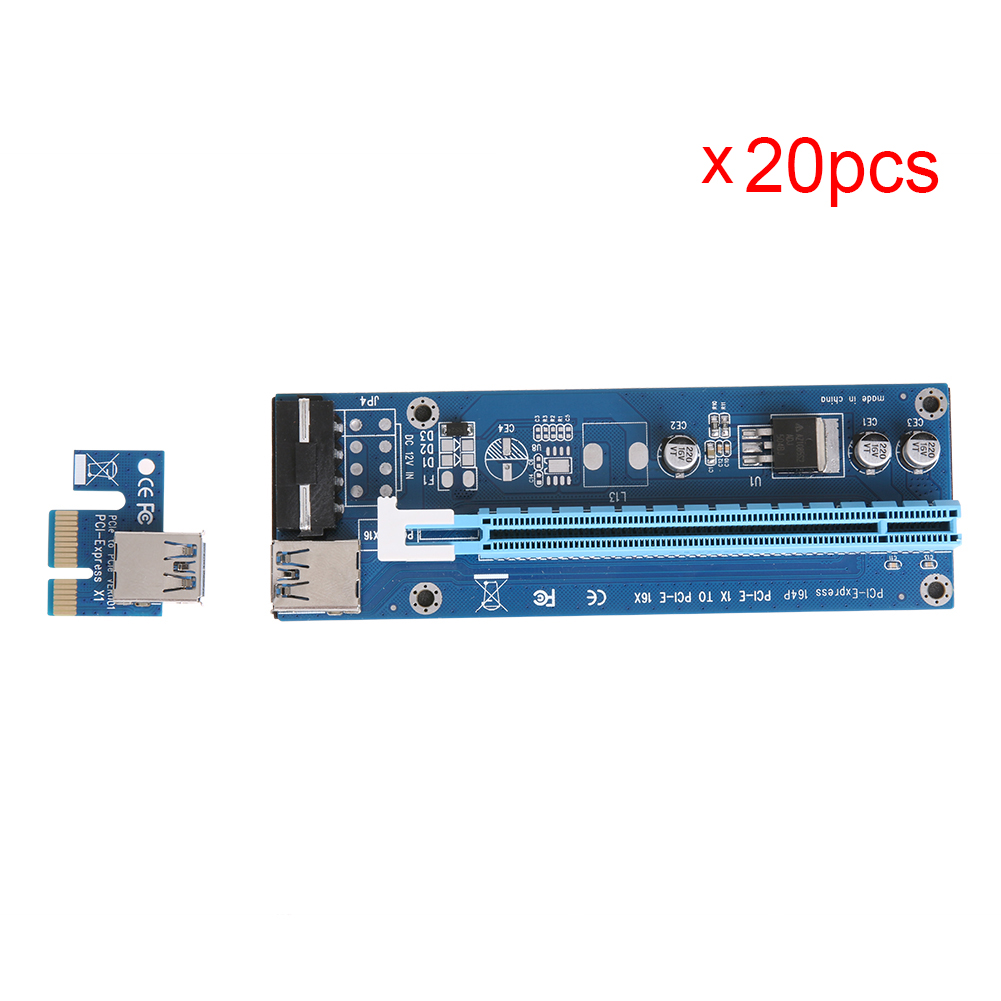 bilder für Upagraded 20 stücke 60 cm USB 3.0 PCI-E Express 1X 4x 8x 16x Extender Riser Adapter Karte SATA auf 4pin Stromkabel für Bitcoin bergbau