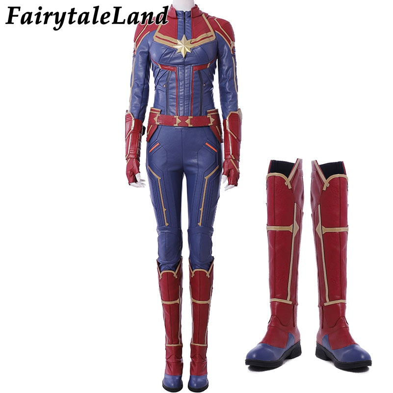 2019 Captain Marvel Carol Danvers Cosplay Costume Superhero Costumes Ms. Jumpsuit