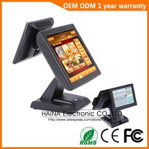 Image 3 - Haina 터치 15 인치 와이파이 터치 스크린 레스토랑 pos 시스템 듀얼 스크린 pos 기계 msr 카드 리더