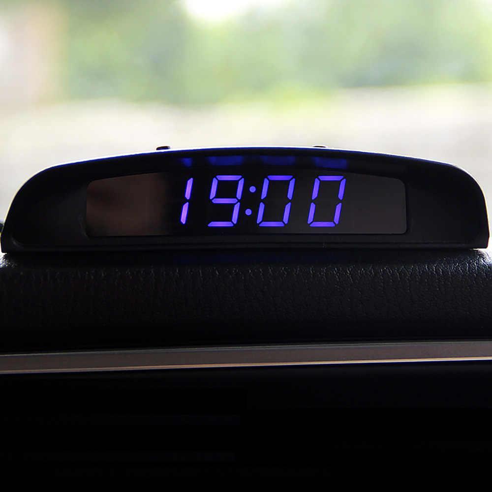 3 em 1 relógio automático termômetro voltímetro exibição ornamento do carro automóveis interior digital led monitor de tensão decoração