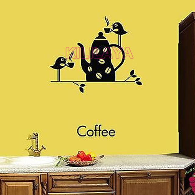 Stickers Coffee Cup Birds Vinyl Wall Sticker Decals Cuisine Mural ...