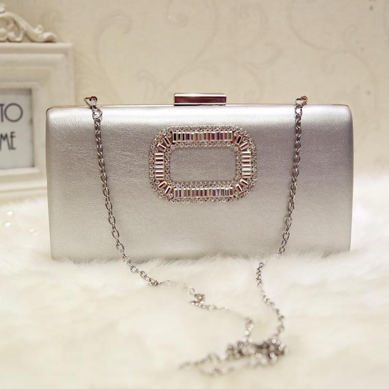 Woman Evening Bag Lady Diamond Rhinestone Day Clutch Wallet Wedding Purse Party Banquet Silvery Chain Shoulder Bags