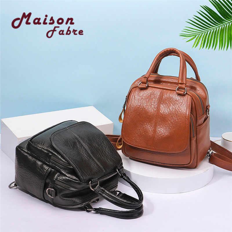 2018 Maison fabre Винтаж девушка кожи школьная сумка рюкзак ученический ранец дорожная сумка p # dropship