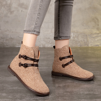 Leather Double Button Design Hemp Booties Women Handmade Craft Low Heel Ankle Boots Lady Fashion Female England Style Shoes