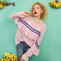 ELF SACK 2019 New Fashion Woman Sweater Hand Knitted Casual Patchwork Pullovers Women Ruffle Sweaters O Neck Ladies Sweaters