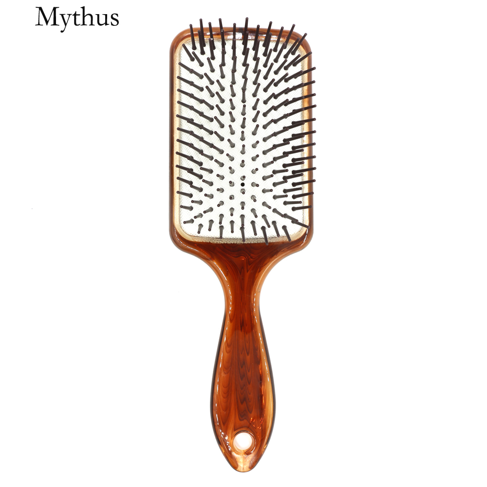 Handgjorda Amber Air Kudde Frisyrer Paddle Brush Salon Detangler Brush Comb Spa Hår Massage Borste För Långt Hår Anti Static