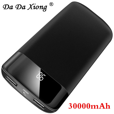 18650 30000mah Power Bank External Battery PoverBank 2 USB LED Powerbank Portable Mobile phone Charger for Xiaomi MI iphone X