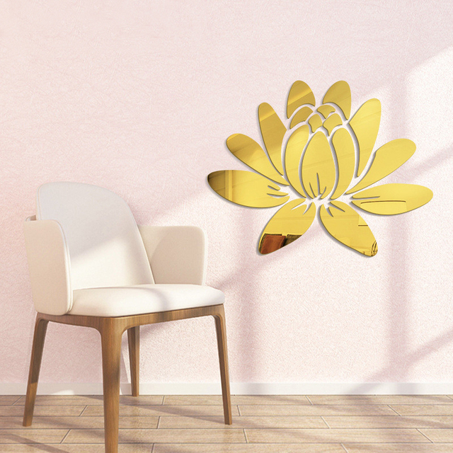 Creative Elegant Lotus 3D Decorative Acrylic Mirror Wall Stickers Flower Home Bedroom Decor Living Room Decoration Poster 2
