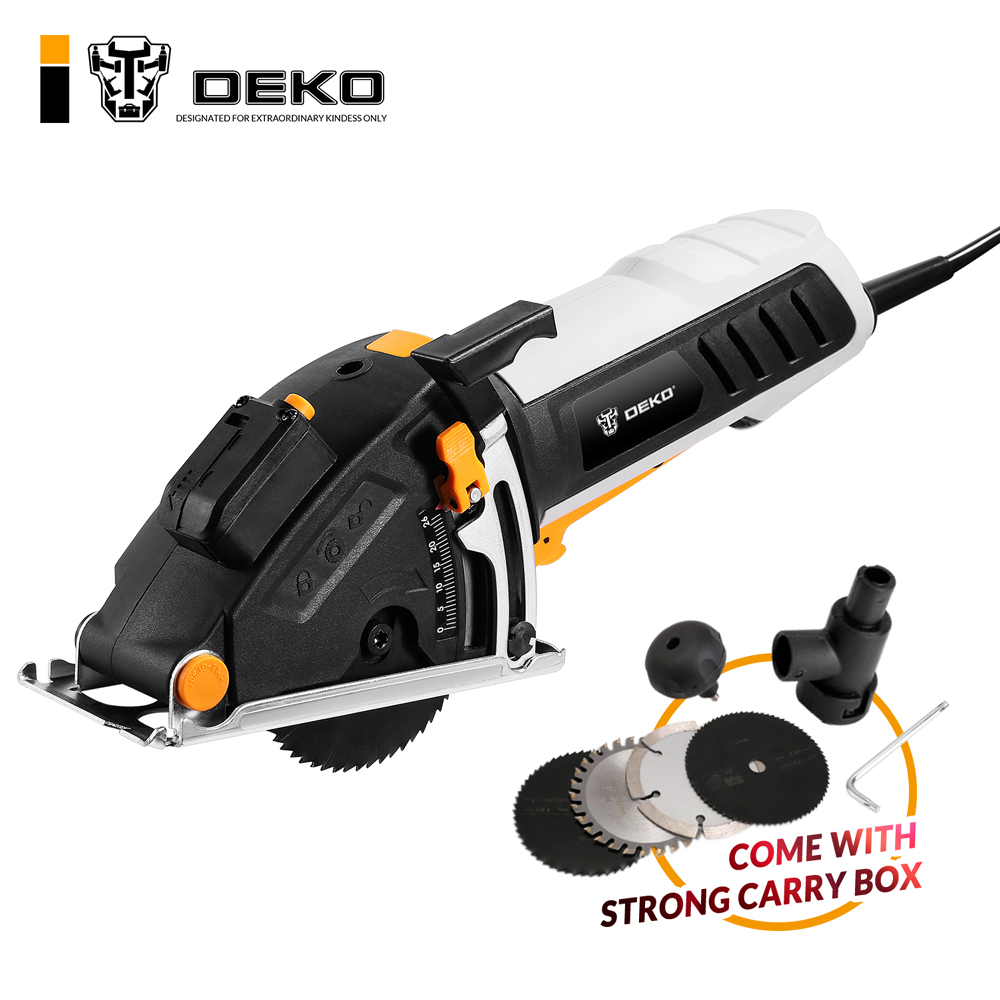 DEKO мини циркулярная пила электроинструменты с лазером, 4 лезвия, пыли проход, шестигранный ключ, вспомогательная ручка, BMC BOX электрическая п...