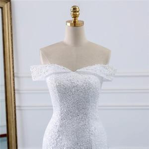 Image 4 - Fansmile vestidos de Encaje Vintage con cuentas, vestido de novia de sirena de talla grande, traje de boda largo de tren hecho a medida, FSM 432M de pavo