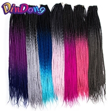 DinDong Ombre Crochet Box Braids Extensions 24 tum Ombre High Temperature Fiber Syntetisk Braiding Hair