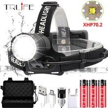 Супер яркий XHP70.2 USB Перезаряжаемый светодиодный налобный фонарь XHP70 самый мощный налобный фонарь для рыбалки, кемпинга, фонарь с зумом на 3*18650 батареях