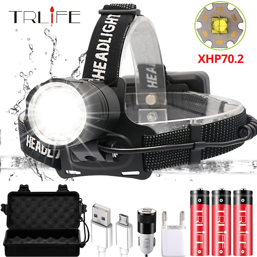 100000LM XHP70.2 USB Rechargeable Led Headlamp XHP70 Most Powerfull Headlight Fishing Camping ZOOM Torch Use 3*18650 Batteries